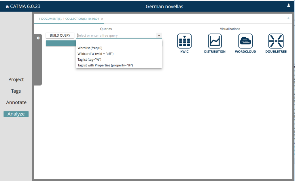 screen shows potential pre-defined search quieries under the analyze tab