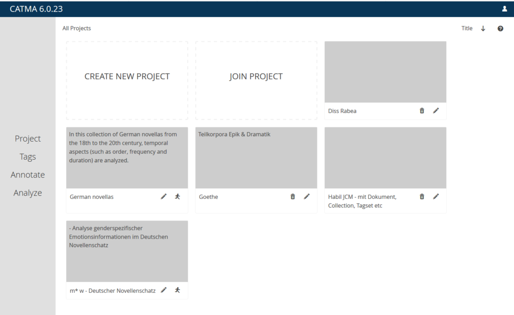 Home page displaying all of the users projects