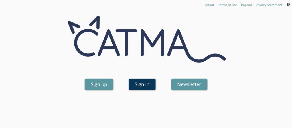 CATMA sign in screen